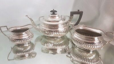 A beautiful vintage silver plated tea set with a semi fluted pattern by f&s.