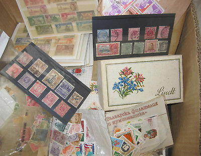 Box of foreign and commonwealth stamps. Album pages & older MM CW on cards.