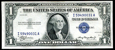1935 Plain $1 One Dollar Silver Certificate I-A Block About Uncirculated