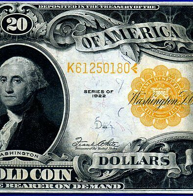1922 $20 Gold Certificate*** Near Uncirculated *** # K61250180