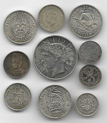 10 x VARIOUS WORLD SILVER Coins.