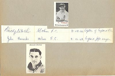 BILLY WRIGHT & JOHN HANCOCKS 1930/50's WOLVES & ENGLAND etc HAND-SIGNED PAGE