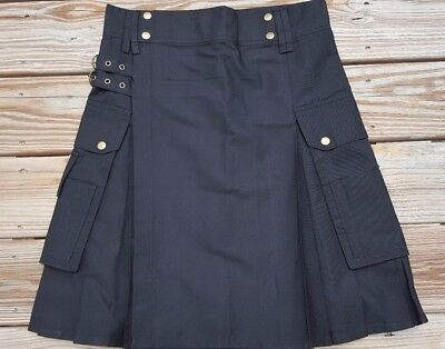 Designer Utility/Modern Kilt, Black Color with Cargo Pockets by USA Krafters