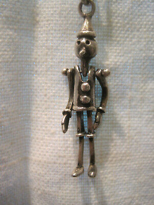 Sterling Silver Pinocchio Pendant Necklace Italy Articulate Charm Vtg? 925 Chain