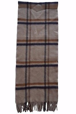 Hackett Beige Wool Checked Scarf