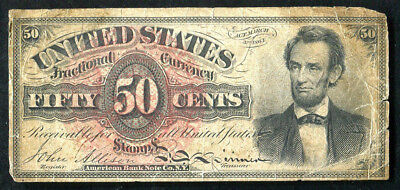 """Fr. 1374 50 Fifty Cents Fourth Issue """"Lincoln"""" Fractional Currency Note"""