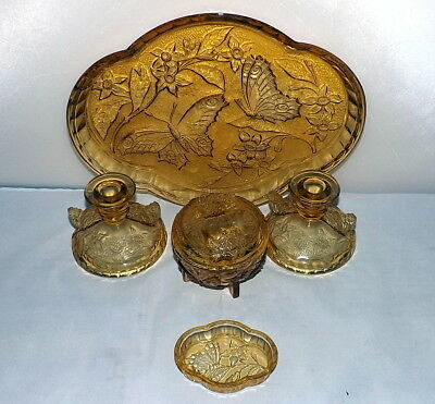 Sowerby Golden Amber 6 piece Butterfly Dressing Table Set