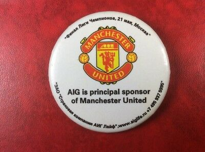 Pin Button Badge Football AIG is Principal Sponsor Of MANCHESTER UNITED. SCARCE!
