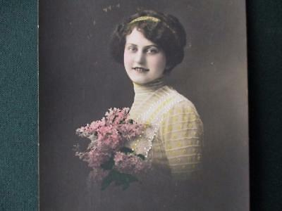 "Vintage Card  Real Photo Card "" Young  Girl Flowers  &  Headband ""   Posted 1912"