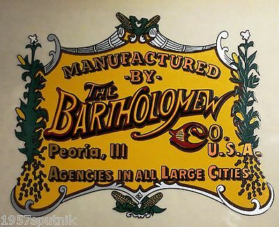 The Bartholomew Co. Peoria Ill Logo Label For a Vintage Popcorn Nut Machine cart