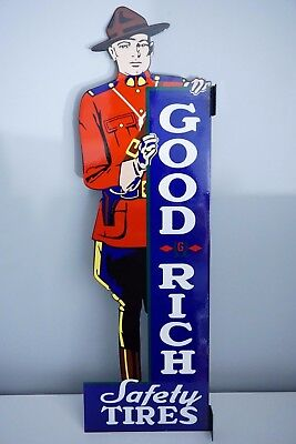 """Vintage Goodrich Safety Tires 30"""" Metal Gasolone & Oil Double Sided Flange Sign!"""