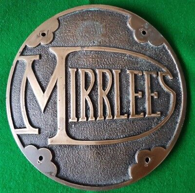 Mirrlees Solid Bronze/brass Art Deco Antique Engine Makers Plaque 8 Inches Diam.