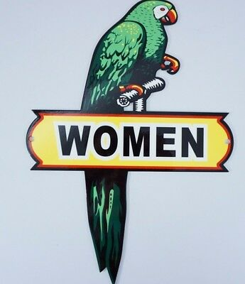 "Vintage Nos ""polly The Parrot Women Restroom 12"" Metal Die-Cut Bird Gas Oil Sign"