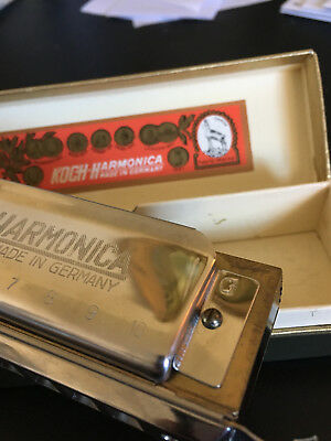 NEW but Vintage Koch Harmonica Key of G Chromatic 10 Hole W/ Slide, Germany