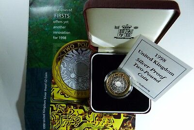 1998 Silver Gold Proof New Portrait £2 Coin UK Royal Mint cased Two Pounds