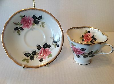 Vtg Windsor Tea Cup and Saucer Pink Rose Heavily Gilded England