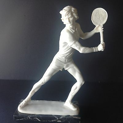Vintage  Alabaster A. Santini Sculpture Statue Figure TENNIS PLAYER Signed