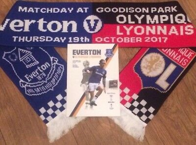 Everton v Olympique Lyonnais Lyon UEFA Europa League 19/10/17 Prog Scarf & Badge