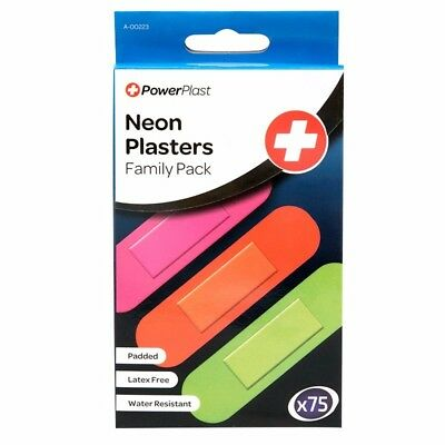75 Neon Water Resistant Padded Plasters - Family Pack / Latex Free / Kids