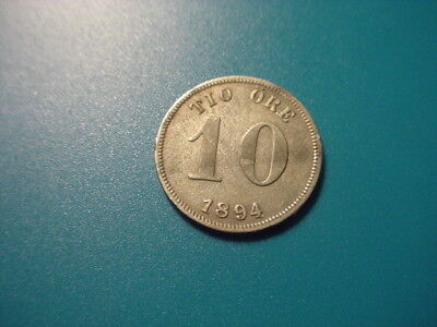 Sweden - Silver - 1894 10-Ore In Very Nice Condition