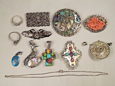 Vintage Sterling Silver Jewelry Collection 12 Pieces - Scrap or Wear - 114 Grams