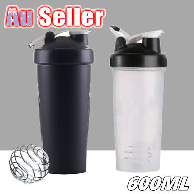 600ml Plastic Portable Bottle Sport Gym Protein Powder Shaker Mixer Drink Cup
