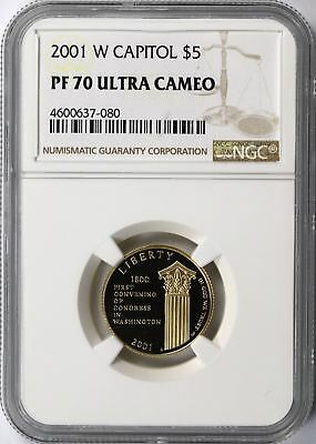 2001-W Capitol Visitor Center Gold $5 Commemorative NGC PF70 Ultra Cameo UCAM