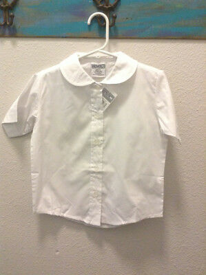 New Genuine School Uniform White Peter Pan Collar Short Sleeve Size 4