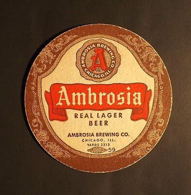 Vintage Ambrosia Beer Coaster - Chicago, IL - No Reserve!