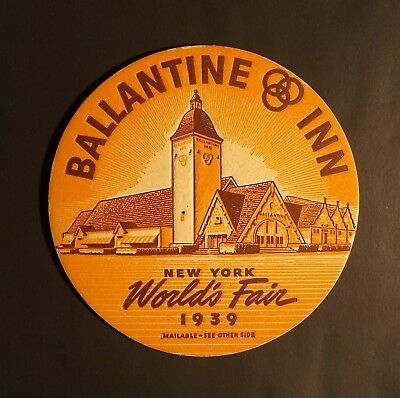 Vintage Ballantine New York World's Fair 1939 Beer Coaster -  - No Reserve!