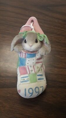 Blushing Bunnies by Enesco 1997 patchwork stocking Christmas ornament