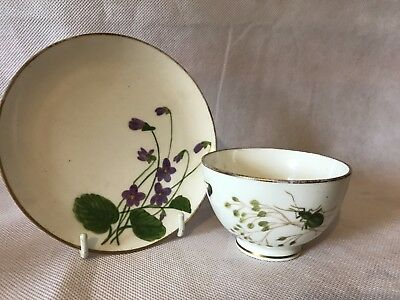 Beautiful Antique Davenport Cup & Saucer With Butterfly Handle