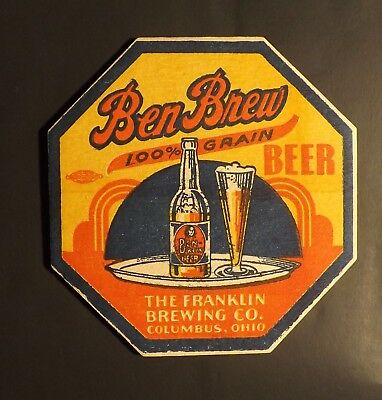 Vintage Ben Brew Beer Coaster -  Columbus, Ohio - No Reserve!