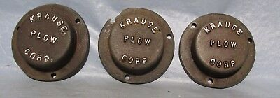 Vintage KRAUSE Plow Co Hutchinson Kansas One Way Bearing End Caps Cast Iron