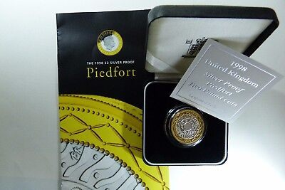 1998 Silver Gold PIEDFORT Proof  £2 Coin UK Royal Mint cased Two Pounds