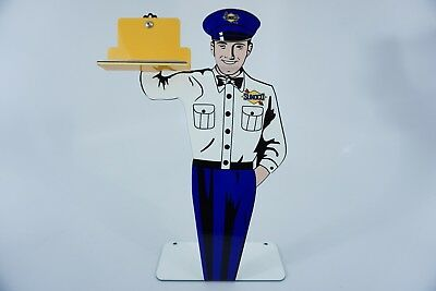 "Vintage Sunoco Stand-Up Attendant Man 12"" Metal Gasoline & Sun Oil Company Sign!"