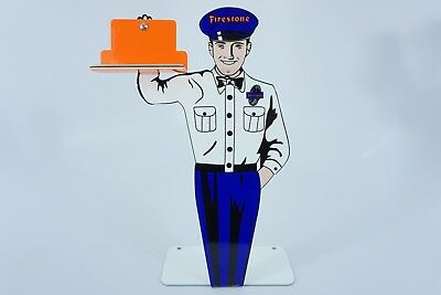 "Vintage Firestone Tires Stand-Up Attendant Man 12"" Metal Tire, Gasoline Oil Sign"