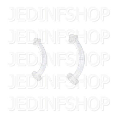 Retainer - Curved Eyebrow Bar - 1.2mm (16g) - 8mm 10mm + 3mm O-Ring - Acrylic