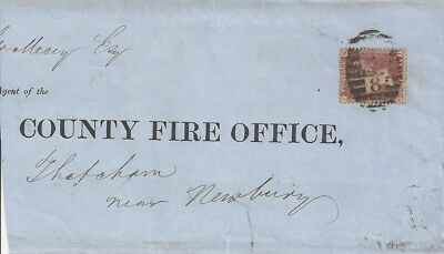 Penny Red Plate 93 cover / wrapper to the County Fire Officer, Thatcham Newbury