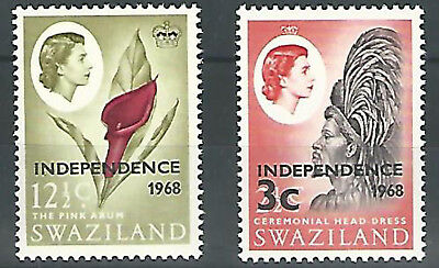 (990264) Swaziland 1962/66, QE def's, Independence  3c, 12 1/2c  inv. watermark
