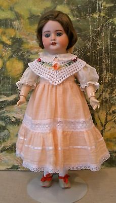 "Antique 19"" French SFBJ bisque socket head doll, repaired NR"