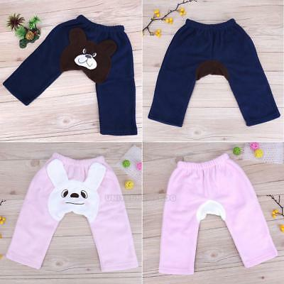 Cartoon Newborn Baby Boy Girl Fleece Winter Thicken Warm Pants Trousers Leggings