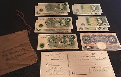 10 £1 notes: Page, O'Brien, Hollom, Somerset, Peppiatt. Coin bag & cheque