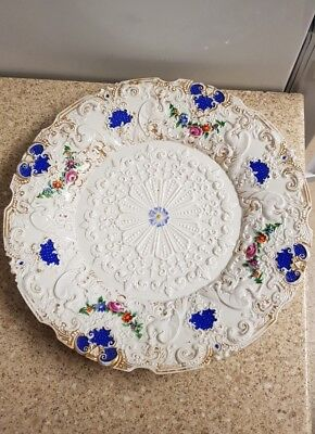 Superb Meissen plate gilt cobalt polychrome relief