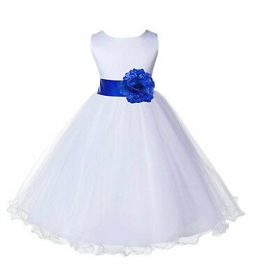 Satin White Tulle Flower Girl Dress Wedding Pageant Communion Reception Baptism