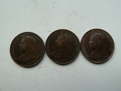 3 Victoria farthings 1899-00-01