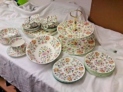 Minton Haddon Hall 30 Pieces Green Rimmed Tea Service