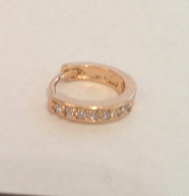 18K Gold Diamond Single Gents Hoop Huggie Earring 229