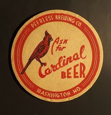Vintage Cardinal Beer Coaster -  Washington, MO - No Reserve!