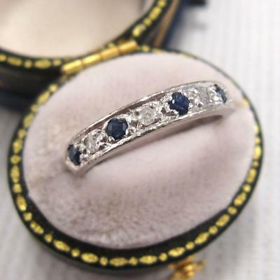 VINTAGE 1950's SAPPHIRE and DIAMOND HALF ETERNITY RING in 18ct WHITE GOLD size M